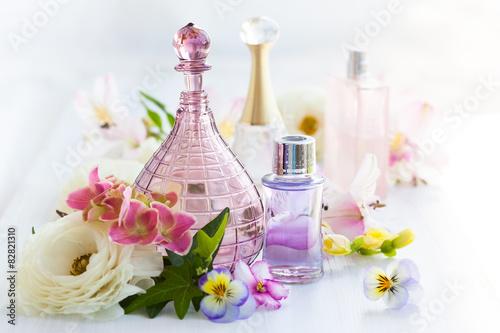 Fototapeta perfume and aromatic oils bottles obraz