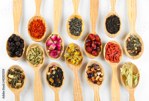 Printed kitchen splashbacks Spices Collection of tea and natural additives in wooden spoons, isolated on white