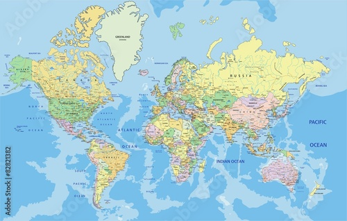 Labeled Globe Map.Highly Detailed Political World Map With Labeling Buy This Stock