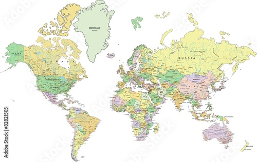 Highly detailed political world map with labeling buy this stock highly detailed political world map with labeling gumiabroncs Gallery