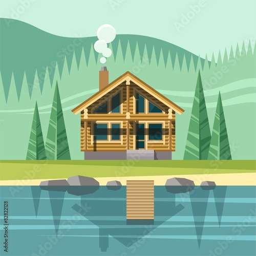 Fotografie, Obraz  Chalet, wooden house, eco house - vector flat illustration.