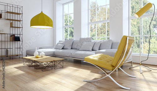 Living room giallo Canvas Print