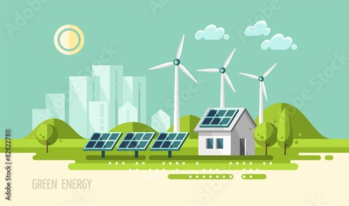 Fotografie, Obraz  Green energy, urban landscape, ecology - vector illustration.