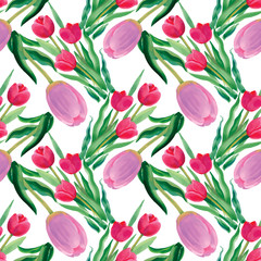 FototapetaWatercolor illustration of Tulips flowers, seamless pattern