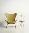 canvas print picture - Modern mustard chair with a side table with hairpin legs