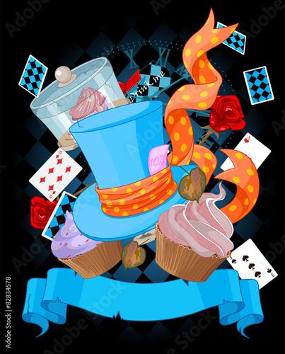 Printed kitchen splashbacks Fairytale World Wonderland cupcake background