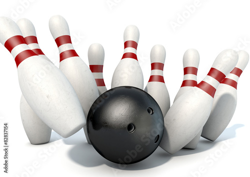Ten Pin Bowling Pins And Ball - Buy this stock illustration