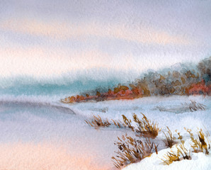 FototapetaWatercolor winter landscape. Evening sky over river