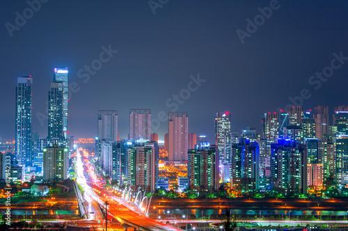 South Korea skyline at night. Poster