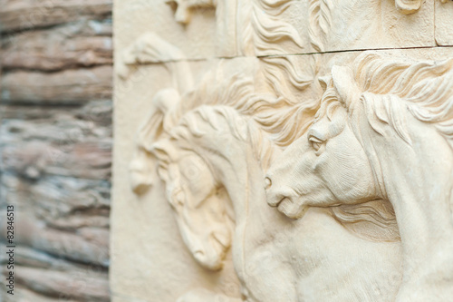 Horse carving art of freedom in soft light buy this stock photo