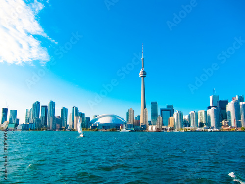 Toronto city skyline from the ferry travels to center island Poster