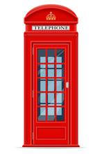 London Red Phone Booth Vector ...
