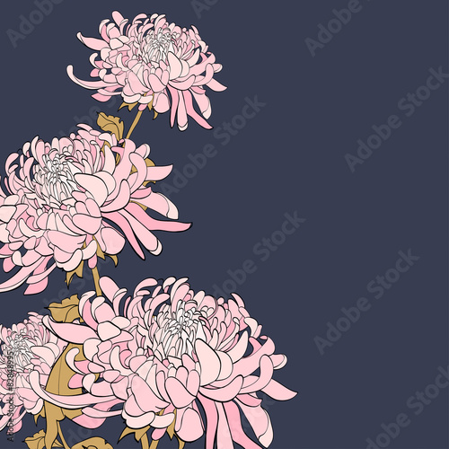 Canvas Print Bouquet of chrysanthemum on grey background.