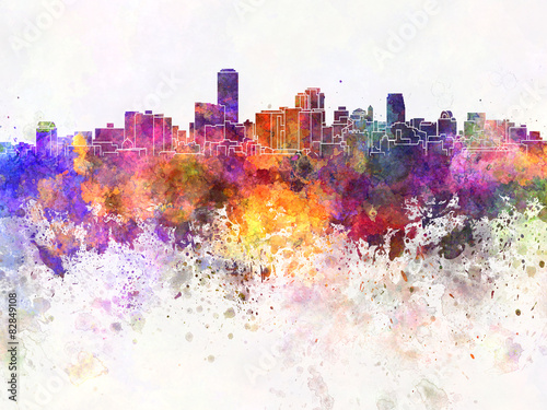Photo Adelaide skyline in watercolor background