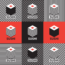 Set Of Abstract Banners On The Theme Of Sushi