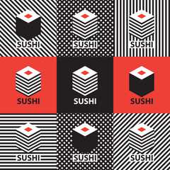 Fototapetaset of abstract banners on the theme of sushi
