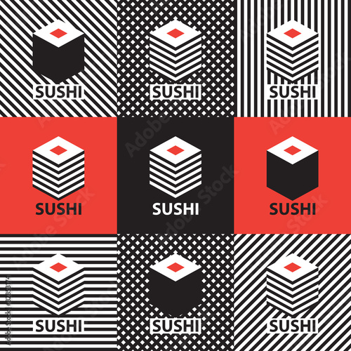 set of abstract banners on the theme of sushi - 82853174