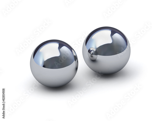 Valokuvatapetti Two glossy metal spheres with clipping path