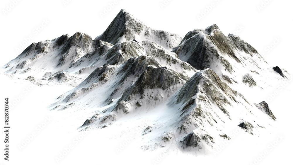 Fototapeta  Snowy Mountains peaks separated on white background