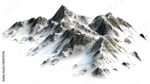 Snowy Mountains peaks separated on white background Canvas-taulu