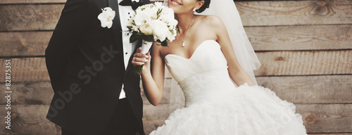 Wedding picture of happy bride. Canvas Print
