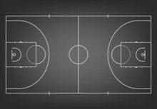 Black Basketball Court  - Top View.