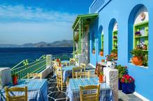 Typical Colorful Greek Restaurant, Kalymnos, Dodecanese Islands,