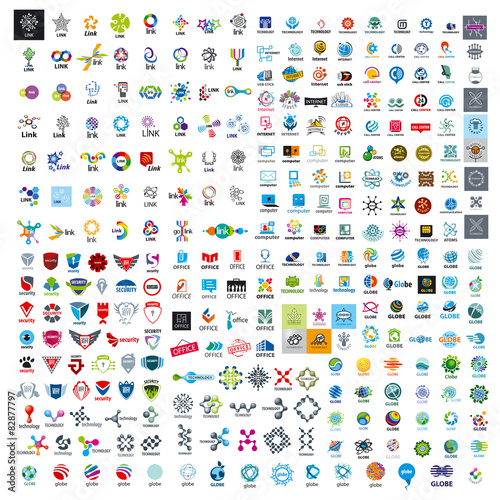 Fotografía  large set of vector logos technology
