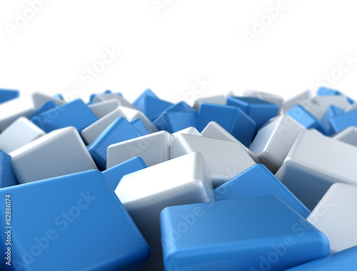 Abstract blue and white glossy cubes