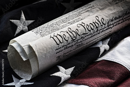 Carta da parati We the people - Constitutional document and flag