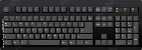 Cuadros en Lienzo  Black qwerty keyboard with US english layout