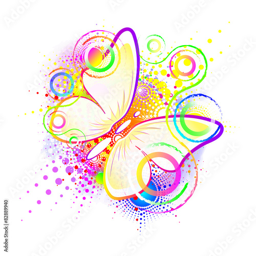 Foto op Aluminium Vlinders in Grunge butterfly, abstract background