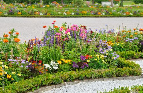 Carta da parati delightful flower bed in the summer park