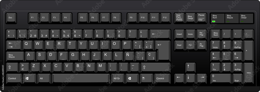 Fototapeta Black qwerty keyboard with SP spanish layout