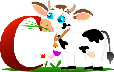 Funny cow with alphabet letter C, isolated on white background