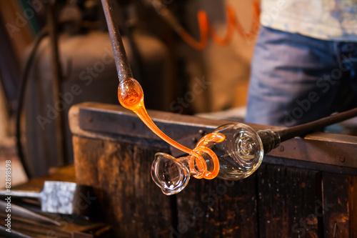 Fototapeta La lavorazione del vetro di Murano, Venezia, Veneto, Italia