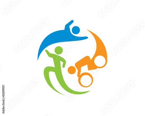 Triathlon Logo Template Canvas Print