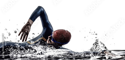 Fotografie, Tablou  man triathlon iron man athlete swimmers swimming