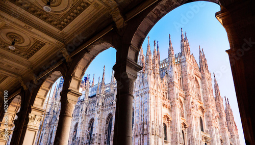 In de dag Monument Duomo of Milan,Italy.Cathedral. Symbol.Beautiful sunset