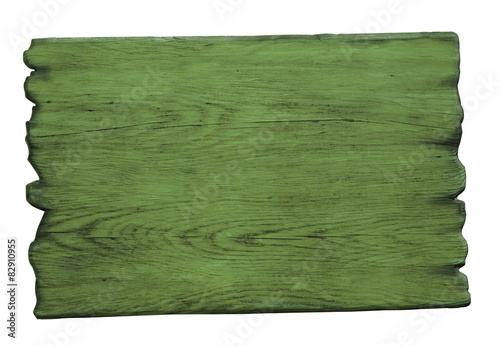 green wood sign isolated on white