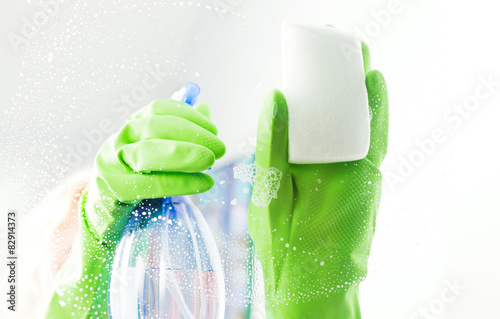 Fotografie, Obraz  Cleaning window pane with detergent, cleaning concept