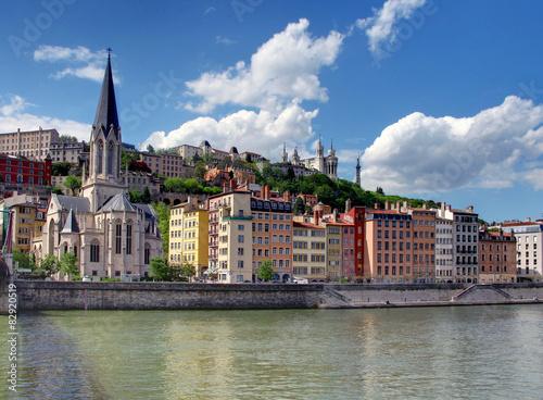 Poster Monument Lyon depuis Quais de Saône