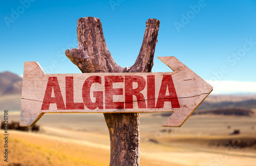In de dag Algerije Algeria wooden sign with dry background