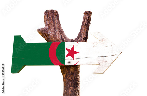In de dag Algerije Algeria Flag wooden sign isolated on white background