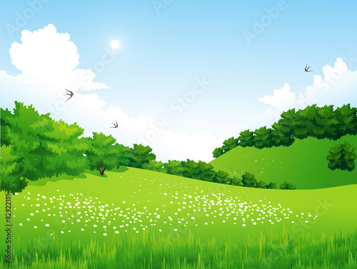 Deurstickers Lime groen Green Landscape with trees, clouds, flowers