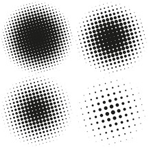 Set Of Abstract Halftone Design Elements