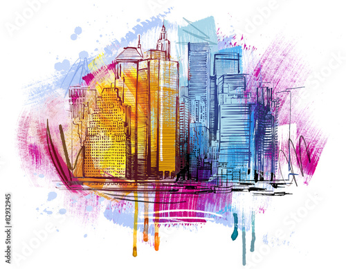 Photo New York Skyline Sketch