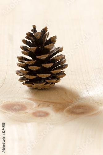 Fotografie, Obraz  Pine Cone on Wood