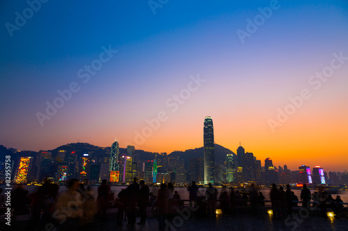 Photo  Twilight of Victoria Harbour, Hong Kong