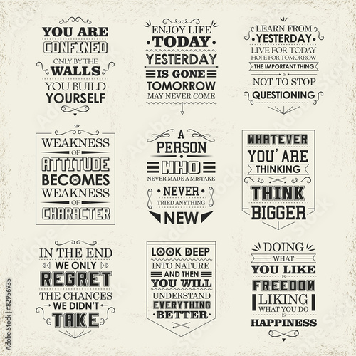 Ingelijste posters Positive Typography life quotes set